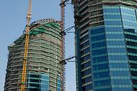 Skyscrapers under construction, Beijing, China.