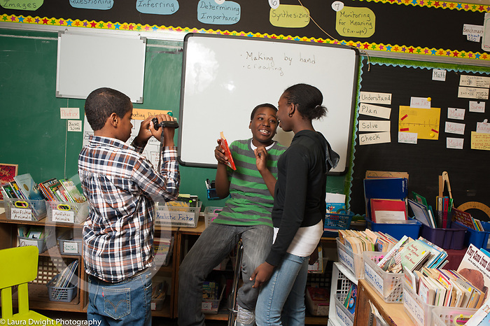 Elementary School afterschool program 5th grade students filming situation acting and self-awareness class