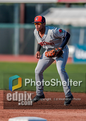 20 August 2017: Connecticut Tigers infielder Randel Alcantara in action against the Vermont Lake Monsters at Centennial Field in Burlington, Vermont. The Lake Monsters rallied to edge out the Tigers 6-5 in 13 innings of NY Penn League action.  Mandatory Credit: Ed Wolfstein Photo *** RAW (NEF) Image File Available ***