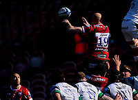 24th April 2021; Kingsholm Stadium, Gloucester, Gloucestershire, England; English Premiership Rugby, Gloucester versus Newcastle Falcons; Matt Garvey of Gloucester wins the lineout ball and passes back to Willi Heinz of Gloucester