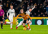 Hull City's forward Jarrod Bowen (20) beats Sheffield United's midfielder John Fleck (4) during the Sky Bet Championship match between Hull City and Sheff United at the KC Stadium, Kingston upon Hull, England on 23 February 2018. Photo by Stephen Buckley / PRiME Media Images.