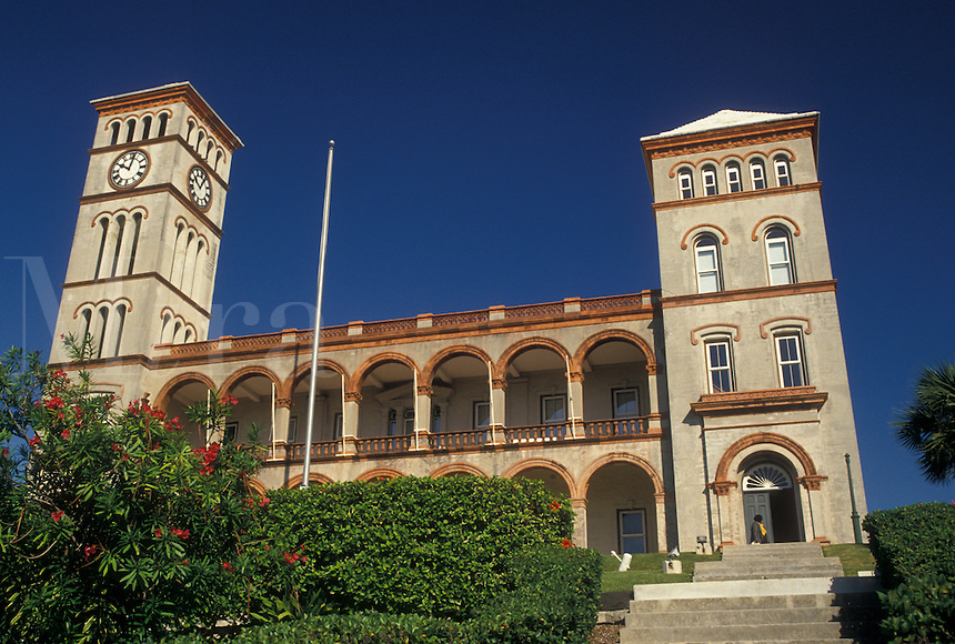 Bermuda, Hamilton, Sessions House the historic Parliament Building in the town of Hamilton in Bermuda.