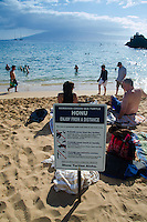 Honu Enjoy from a Distance Sign, Kaanapali Beach, Maui, Hawaii, US