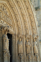 Sculpted entrance of the Bordeaux Cathedral, Bordeaux, Gironde, France.