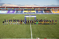 HERRIMAN, UT - JULY 8: OL Reign FC and Utah Royals FC line up for the Nation Anthem during a game between OL Reign and Utah Royals FC at Zions Bank Stadium on July 8, 2020 in Herriman, Utah.