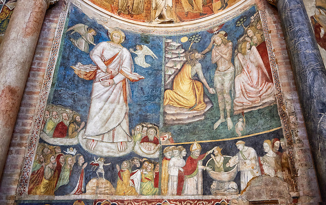 Frescoes depicting the baptism of Christ bt St John the Baptist  on the interior of the Romanesque Baptistery of Parma, circa 1196, (Battistero di Parma), Italy