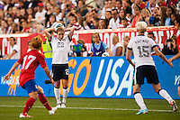 United States (USA) defender Meghan Klingenberg (22) on a throw in. The women's national team of the United States defeated the Korea Republic 5-0 during an international friendly at Red Bull Arena in Harrison, NJ, on June 20, 2013.