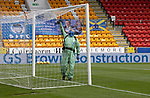 St Johnstone v Hibs……23.08.20   McDiarmid Park  SPFL<br />Groundsman Chris Smith disinfectant the goals before kick off<br />Picture by Graeme Hart.<br />Copyright Perthshire Picture Agency<br />Tel: 01738 623350  Mobile: 07990 594431