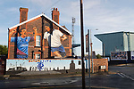 Tranmere Rovers 1 Walsall 3, 05/12/2020. Prenton Park, League Two. A mural depicting former players Ray Mathias and Ian Muir on the gable end of a house on the deserted streets opposite the ground before Tranmere Rovers host Walsall in a League Two fixture at Prenton Park, Birkenhead. The game was the first of the season at which spectators were allowed to be present under the Covid-19 restrictions. A crowd of 2000 watched the game which was won by the visitors by 3-1. Photo by Colin McPherson.