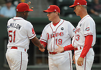 Sept. 17, 2009: Greenville Drive coaches, Billy McMillon, Kevin Boles and Bob Kipper, are announced at the start of Game 3 of the South Atlantic League Championship Series between the Drive and the Lakewood BlueClaws at Fluor Field at the West End in Greenville, S.C. Photo by: Tom Priddy/Four Seam Images