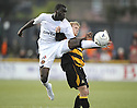 25/08/2009  Copyright  Pic : James Stewart.sct_jspa06_alloa_v_dundee_utd  .MORGARO GOMIS GETS IN FRONT OF SCOTT AGNEW....James Stewart Photography 19 Carronlea Drive, Falkirk. FK2 8DN      Vat Reg No. 607 6932 25.Telephone      : +44 (0)1324 570291 .Mobile              : +44 (0)7721 416997.E-mail  :  jim@jspa.co.uk.If you require further information then contact Jim Stewart on any of the numbers above.........