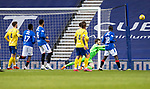 Rangers v St Johnstone…25.04.21   Ibrox.  Scottish Cup<br />Zander Clark saves an Alfredo Morelos shot<br />Picture by Graeme Hart.<br />Copyright Perthshire Picture Agency<br />Tel: 01738 623350  Mobile: 07990 594431