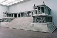 Greek Art:  The Great Altar of Pergamon is in the Pergamon Museum, Berlin. The base of this altar remains on the upper part of the Acropolis. This altar was believed to be dedicated to Zeus.