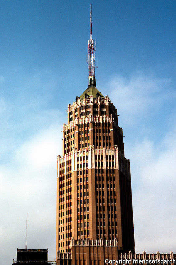 San Antonio:  Tower Life Building, formerly Smith-Young Tower.  Eight sided, neo-gothic brick and terra-cotta tower.(complete with gargoyles) was designed by Atlee & Robert B. Ayers. National Register of Historic Places 1991.  Photo '80.
