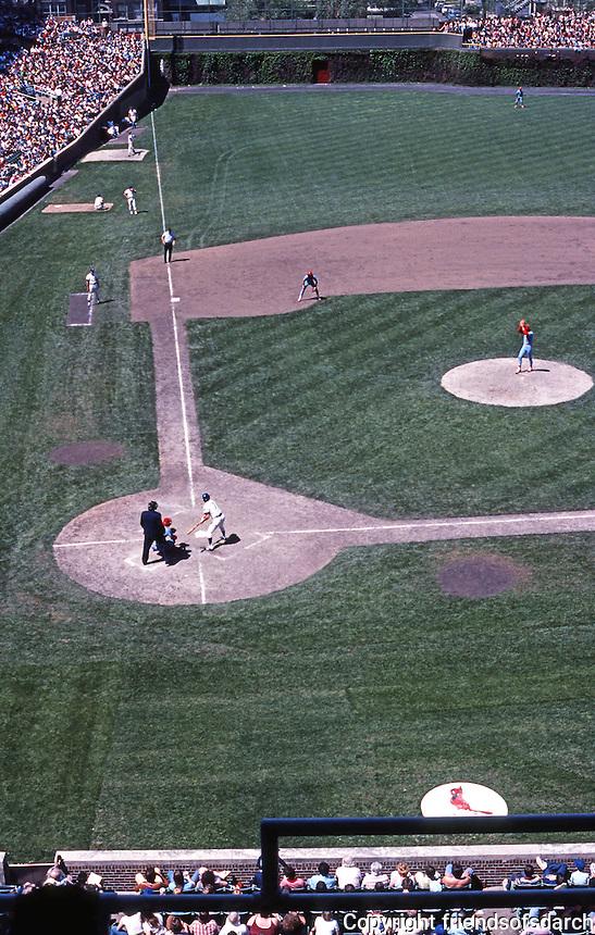 Ballparks: Chicago Wrigley Field, left field foul line. View from upper deck. Cubs vs. Cardinals June '78.