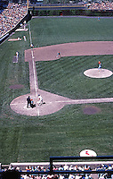 Ballparks: Chicago Wrigley Field, left field foul line. View from upper deck. Cubs vs. Cardinals June '78.
