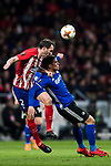 Diego Roberto Godin Leal (L) of Atletico de Madrid competes for the ball with Pieros Sotiriou of FC Copenhague during the UEFA Europa League 2017-18 Round of 32 (2nd leg) match between Atletico de Madrid and FC Copenhague at Wanda Metropolitano  on February 22 2018 in Madrid, Spain. Photo by Diego Souto / Power Sport Images