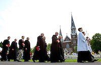 Clergymen process into a Graduation Ceremony at Belmont Abbey College in Belmont, NC.