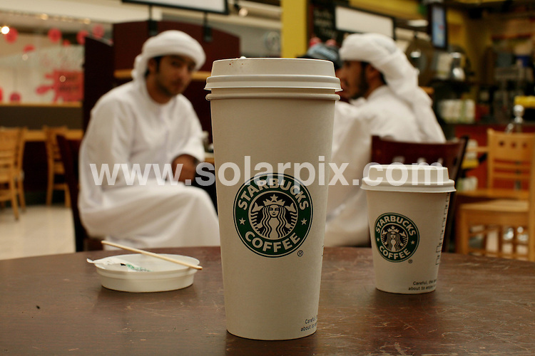 **ALL ROUND PICTURES FROM SOLARPIX.COM**.**WORLDWIDE SYNDICATION RIGHTS**.GVs of a Starbucks franchise in a Mall in Abu Dhabi; Dubai, UAE. 11 August 2008..This pic: Starbucks Dubai..JOB REF: 8505 DBL     DATE: 11_08_2008.**MUST CREDIT SOLARPIX.COM OR DOUBLE FEE WILL BE CHARGED**.**ONLINE USAGE FEE  GBP 50.00 PER PICTURE - NOTIFICATION OF USAGE TO PHOTO @ SOLARPIX.COM**