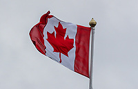 170719 | The 148th Open - Wednesday Practice<br /> <br /> The Canadian flag on the 18th stand during practice for the 148th Open Championship at Royal Portrush Golf Club, County Antrim, Northern Ireland. Photo by John Dickson - DICKSONDIGITAL
