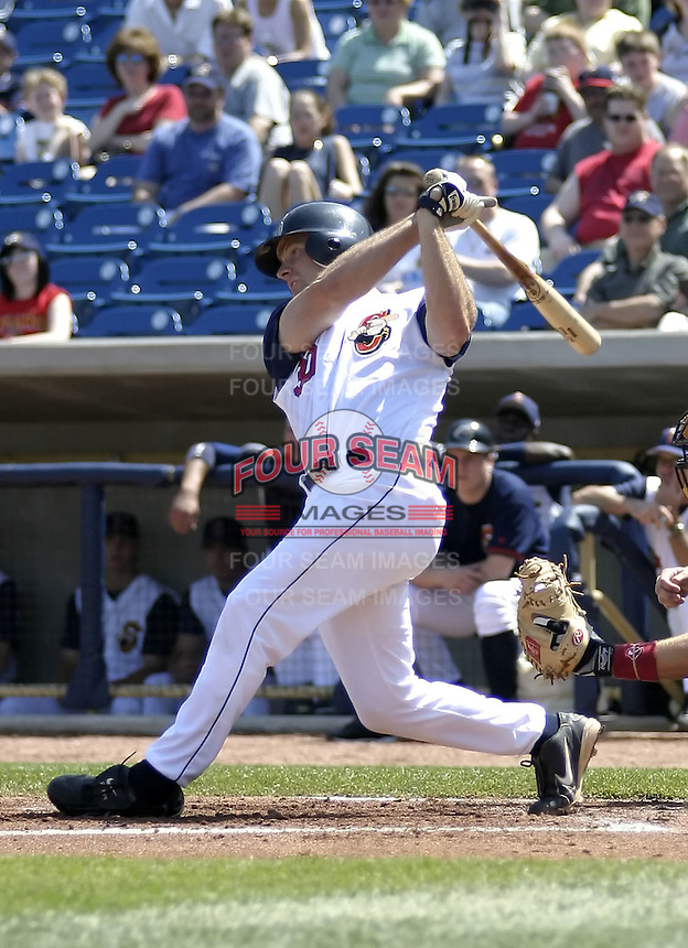 April 18, 2004:  Kevin Kouzmanoff of the Lake County Captains, Low-A South Atlantic League affiliate of the Cleveland Indians, during a game at Classic Park in Eastlake, OH.  Photo by:  Mike Janes/Four Seam Images