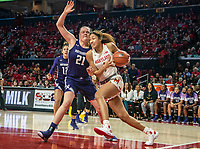 COLLEGE PARK, MD - JANUARY 26: Shakira Austin #1 of Maryland runs past Abbie Wolf #21 of Northwestern during a game between Northwestern and Maryland at Xfinity Center on January 26, 2020 in College Park, Maryland.
