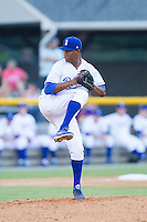 Burlington Royals starting pitcher Carlos Herrera (43) in action against the Johnson City Cardinals at Burlington Athletic Park on July 14, 2014 in Burlington, North Carolina.  The Cardinals defeated the Royals 9-4.  (Brian Westerholt/Four Seam Images)