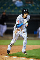 Jackson Generals right fielder Victor Reyes (5) runs to first base during a game against the Chattanooga Lookouts on April 27, 2017 at The Ballpark at Jackson in Jackson, Tennessee.  Chattanooga defeated Jackson 5-4.  (Mike Janes/Four Seam Images)