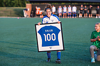 Boston, MA - Sunday September 10, 2017: Angela Salem with a jersey commemorating her 100th NWSL appearance during a regular season National Women's Soccer League (NWSL) match between the Boston Breakers and Portland Thorns FC at Jordan Field.