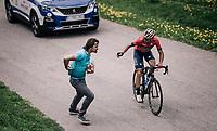 Vincenzo Nibali (ITA/Bahrain-Merida) trying to score a bidon atop the Col du Pré from his former team's soigneur<br /> <br /> Stage 6: Frontenex > La Rosière Espace San Bernardo (110km)<br /> 70th Critérium du Dauphiné 2018 (2.UWT)