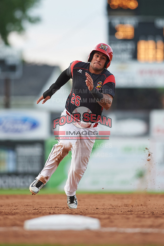 Batavia Muckdogs third baseman Rony Cabrera (26) running the bases during a game against the Auburn Doubledays on June 19, 2017 at Dwyer Stadium in Batavia, New York.  Batavia defeated Auburn 8-2 in both teams opening game of the season.  (Mike Janes/Four Seam Images)