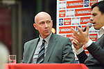 Head of Public Affairs at the Welsh FA - Ian  Gwyn Hughes chairing a question and answer session with the new Welsh Football Manager Chris Coleman at the Waterfront Museum in Swansea.