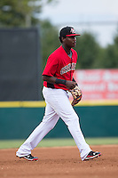 Hickory Crawdads third baseman Juremi Profar (23) on defense against the West Virginia Power at L.P. Frans Stadium on August 15, 2015 in Hickory, North Carolina.  The Power defeated the Crawdads 9-0.  (Brian Westerholt/Four Seam Images)