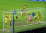 26.12.2020 Rangers v Hibs: Connor Goldson's header saved by Dillon Barnes