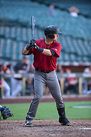 Dominic Miroglio (21) of the Arizona Diamondbacks at bat during an Instructional League game against the Kansas City Royals at Chase Field on October 14, 2017 in Phoenix, Arizona. (Zachary Lucy/Four Seam Images)