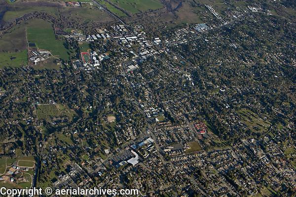 aerial overview photograph of Sebastopol, Sonoma County, California