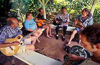 Group making music at Bailey House Museum, an historical mission house with Hawaiiana and art and craft demonstrations, Wailuku, Maui