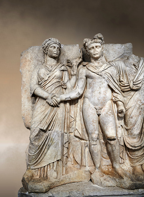 """Roman Sebasteion relief sculpture of emperor Claudius and Agrippina, Aphrodisias Museum, Aphrodisias, Turkey.  Against an art background.<br /> <br /> Claudius in heroic nudity and military cloak shakes hands with his wife Agrippina and is crowned by the Roman people or the Senate wearing a toga. The subject is imperial concord with the traditional Roman state. Agrippina holds ears of wheat: like Demeter goddess of fertility. The emperor is crowned with an oak wreath, the Corona civica or """"citizen crow"""", awarded to Roman leaders for saving citizens lives: the emperor id therefore represented as saviour of the people."""