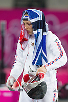 12 AUG 2012 - LONDON, GBR - Mhairi Spence (GBR) of Great Britain prepares for her next match during the women's London 2012 Olympic Games Modern Pentathlon fencing at The Copper Box in the Olympic Park, in Stratford, London, Great Britain .(PHOTO (C) 2012 NIGEL FARROW)