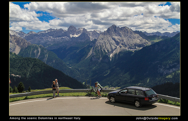 Italy, Dolomites. <br /> Yes, tourists do crazy things everywhere. I wasn't skilled enough to capture the Ducati motorcycles racing by.