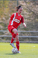 Loredana Humartus (33) of Standard in action during a female soccer game between Standard Femina de Liege and Club Brugge YLA on the 2nd matchday in play off 1 of the 2020 - 2021 season of Belgian Scooore Womens Super League , saturday 17 th of April 2021  in Angleur , Belgium . PHOTO SPORTPIX.BE | SPP | SEVIL OKTEM