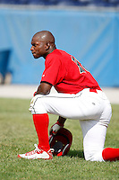 June 19, 2009:  Outfielder D'Marcus Ingram of the Batavia Muckdogs during batting practice before a game at Dwyer Stadium in Batavia, NY.  The Muckdogs are the NY-Penn League Short-Season Class-A affiliate of the St. Louis Cardinals.  Photo by:  Mike Janes/Four Seam Images