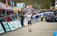 U23 race winner & U23 World Champion Wout Van Aert (BEL/Vastgoedservice-Golden Palace) crossing the finish line on foot<br /> <br /> GP Zonhoven 2014
