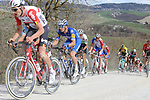 The peloton including Tiesj Benoot (BEL) Lotto-Soudal and Zdenek Štybar (CZE) Deceuninck-Quick Step give chase on sector 8 Monte Santa Maria during Strade Bianche 2019 running 184km from Siena to Siena, held over the white gravel roads of Tuscany, Italy. 9th March 2019.<br /> Picture: Seamus Yore   Cyclefile<br /> <br /> <br /> All photos usage must carry mandatory copyright credit (© Cyclefile   Seamus Yore)