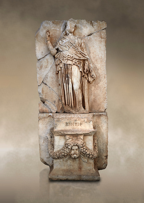 Roman Sebasteion relief sculpture of Krete Aphrodisias Museum, Aphrodisias, Turkey.  Against an art background.<br /> <br /> The classical hairstyle, dress and pose characterises the figure of civilised and free,