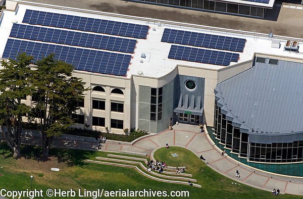 aerial photograph of solar panels installed on a roof at the University of San Francisco, San Francisco, California