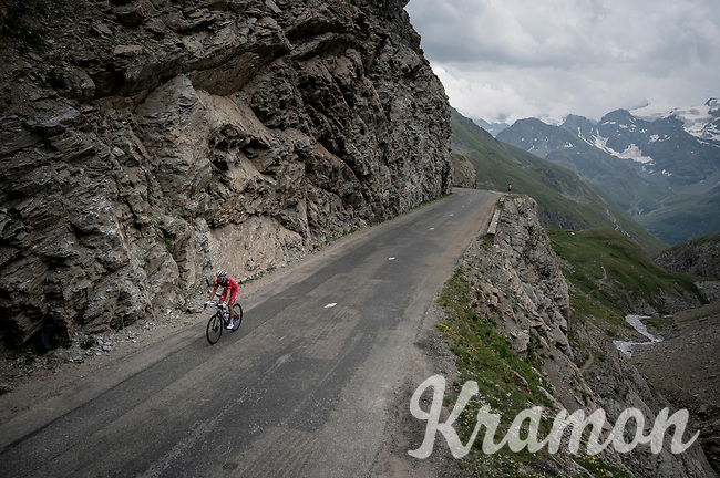 Suisse champion Sébastien Reichenbach (SUI/Groupama - FDJ) up the Col de l'Iseran (HC/2751m/13km@7.3%) <br /> > where the race was eventually stopped (at the top) because of landslides further up the road (after a severe hail storm in Tignes)<br /> <br /> Stage 19: Saint-Jean-de-Maurienne to Tignes (126km)<br /> 106th Tour de France 2019 (2.UWT)<br /> <br /> ©kramon