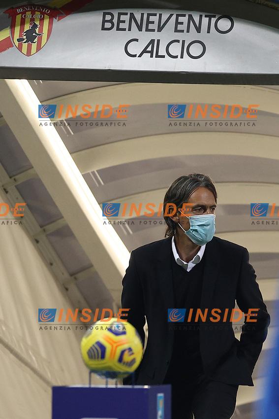 Filippo Inzaghi coach of Benevento Calcio with the mask anti Covid-19<br /> prior to the Serie A football match between Benevento Calcio and Spezia Calcio at stadio Ciro Vigorito in Benevento (Italy), November 7th, 2020. <br /> Photo Cesare Purini / Insidefoto