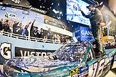 #16: Austin Hill, Hattori Racing Enterprises, Toyota Tundra Chiba Toyopet, celebrates after winning.