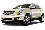 Low aggressive front three quarter view of a 2013 Cadillac SRX